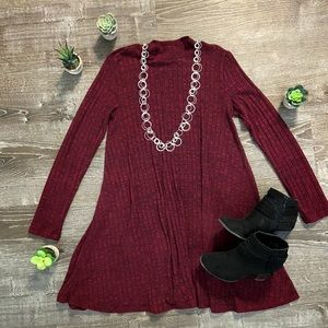 Maroon Mid Length Long Sleeve Dress